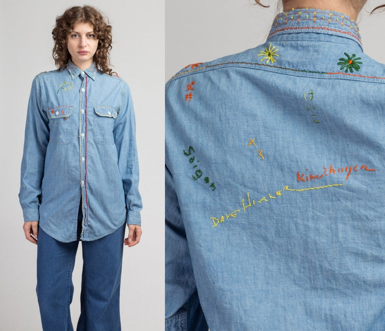 70s Chambray Embroidered Souvenir Shirt Vintage Unisex Button Up Western Style Retro Top Medium to Large