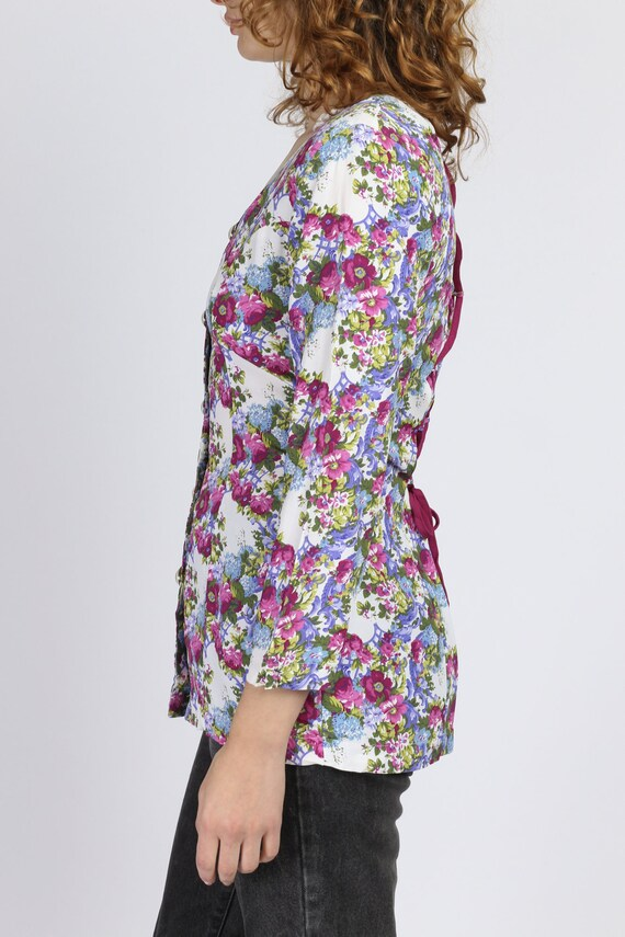 90s Floral Corset Lace Up Top - Small | Vintage R… - image 3