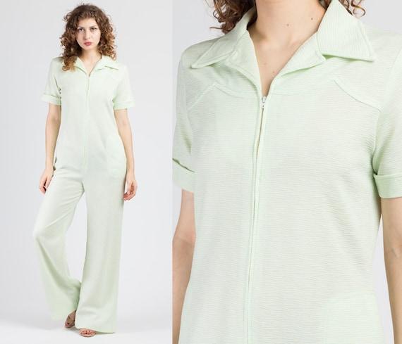 70s Mint Green Flared Leg Jumpsuit - Large | Vinta