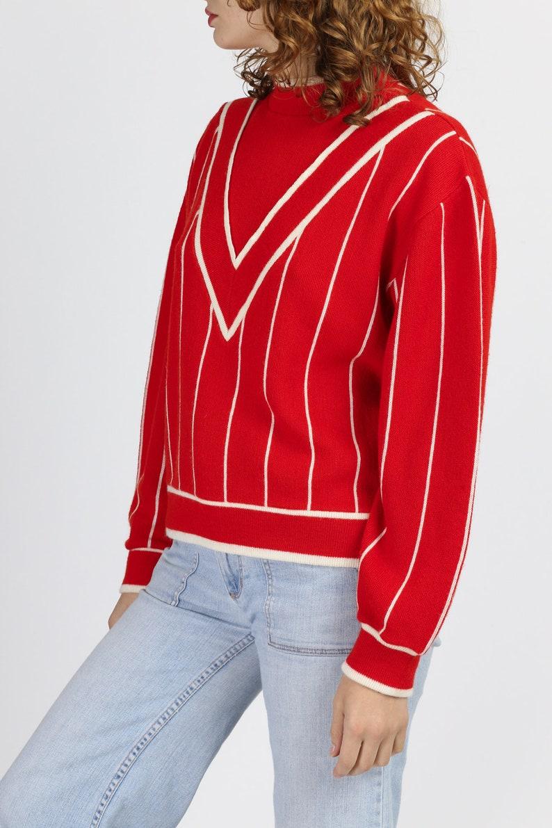 Medium 80s Red /& White Chevron Striped Sweater Vintage Mockneck Lightweight Knit Pullover Jumper