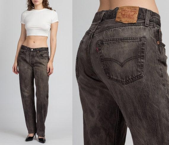Vintage Levi's 501 Faded Black Denim Jeans - 33x32