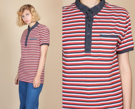 80s Red White And Blue Striped Ringer Polo - Large