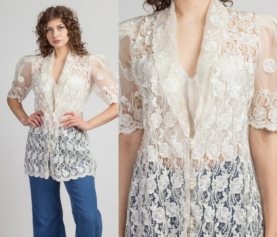 80s Sheer Embroidered Organza Puff Sleeve Blouse -