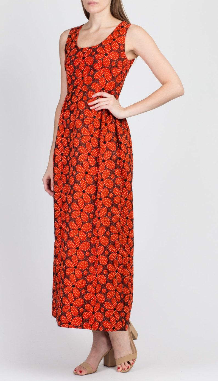 60er Jahre rot gesteppt Floral Maxi Kleid Extra klein | Etsy