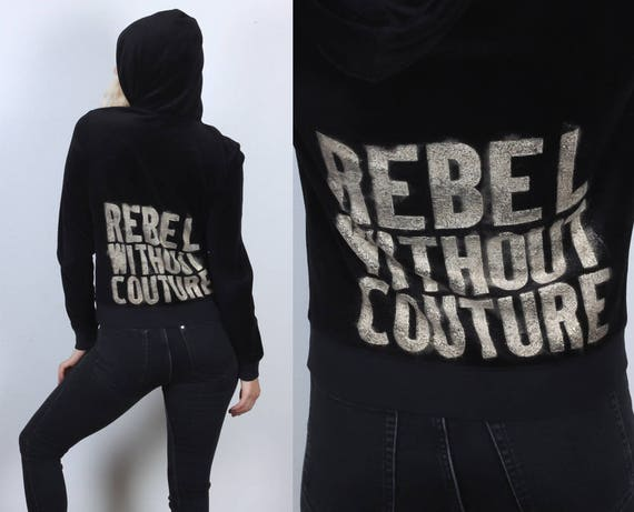 4be6feac25dc Juicy Couture Jacket Vintage Black Velour Zip Up Hooded