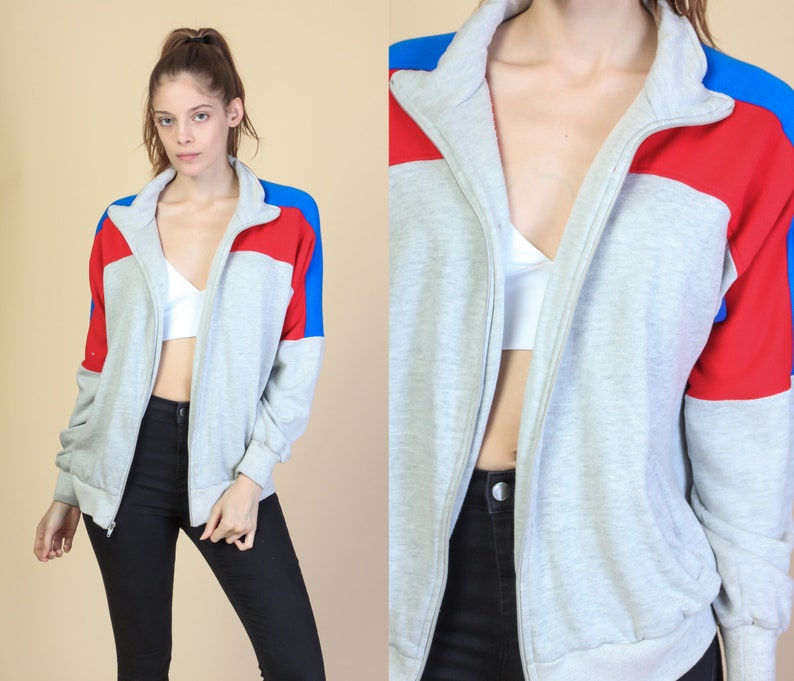 65ff651ef1b8d2 Retro 80s Striped Track Jacket Mens Medium Vintage Heather | Etsy