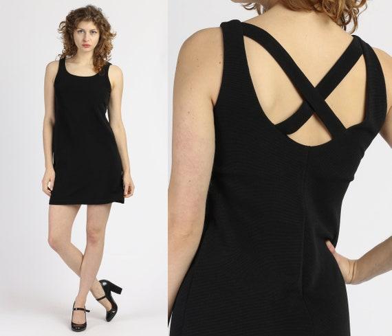 90s Strappy Little Black Dress - Medium | Vintage