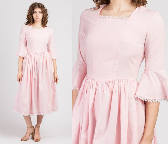 70s Baby Pink Bell Sleeve Midi Dress - Small | Vin