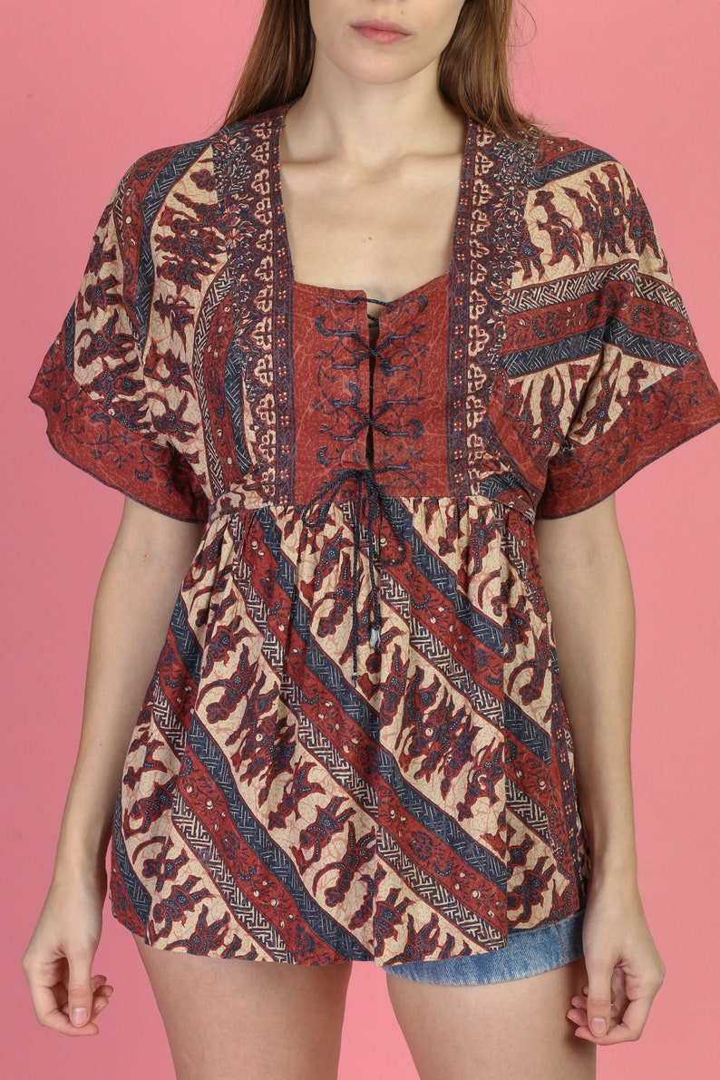 70s Hippie Bell Sleeve Corset Blouse Medium Vintage Boho Ethnic Print Peasant Top