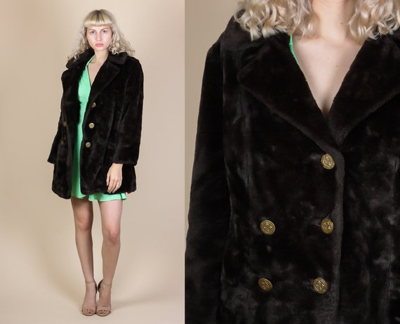 eb8ac83dfa11c 70s Faux Fur Coat - Extra Large | Vintage Dark Brown Double Breasted Winter  Jacket