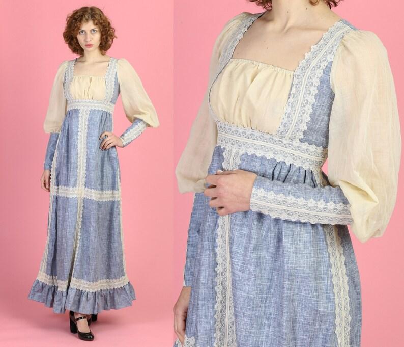 3242fcae8ab7b Vintage Gunne Sax Black Label Boho Prairie Dress - Small | 60s 70s  Renaissance Chambray Lace Trim Floor Length Gown Formal Maxi Dress