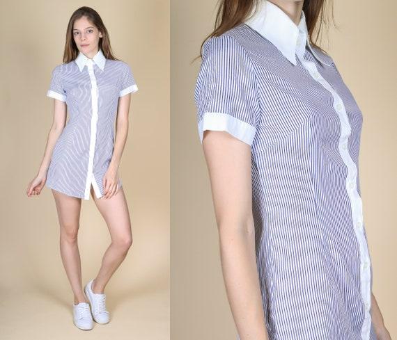 8702c3963f 90-ta sukienka pinstripe mini koszula-Petite XS Vintage