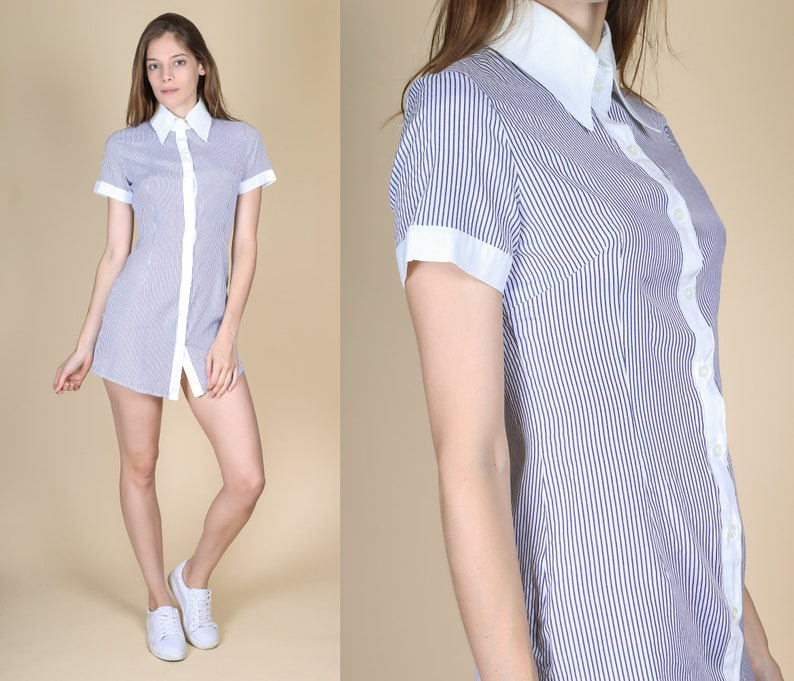 cafad7861d 90s Pinstripe Mini Shirt Dress Petite XS Vintage Blue