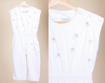 Vintage Kids Floral Jumpsuit - Youth 14/16   80s Girls Capri Romper Playsuit