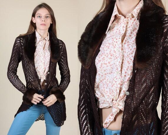 5329db8637e 90s Sheer Knit Cardigan Vintage Faux Fur Trim Brown Open