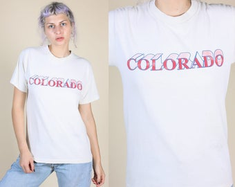 80s Colorado T Shirt | Vintage Tourist Top Travel Graphic Tee Mens Womens - Medium