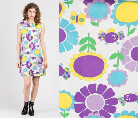 60s Mod Cartoon Floral Butterfly Mini Dress - Medi