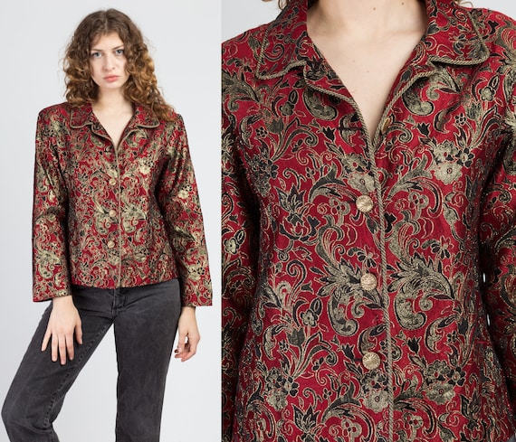 80s Metallic Floral Brocade Crop Top Small Vintage Long Sleeve Button Up Jacket Shirt