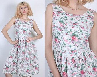 Vintage Low Back Dress | 80s Knee Length White Floral Sundress - Small to Medium
