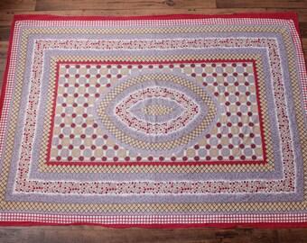 Vintage Hippie Tapestry | 70s Wall Hanging Boho Indian Batik Festival Decor - 4'x5'