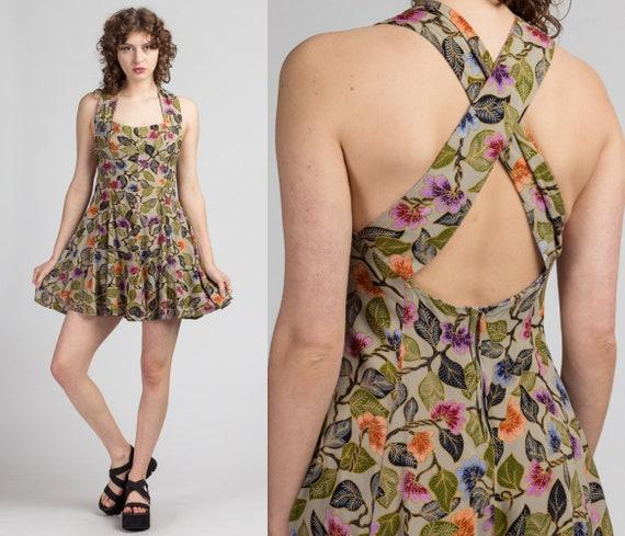 90s Floral & Leaf Print Mini Dress - Petite Small
