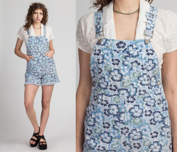 80s Floral Denim Overall Shorts - Small | Vintage