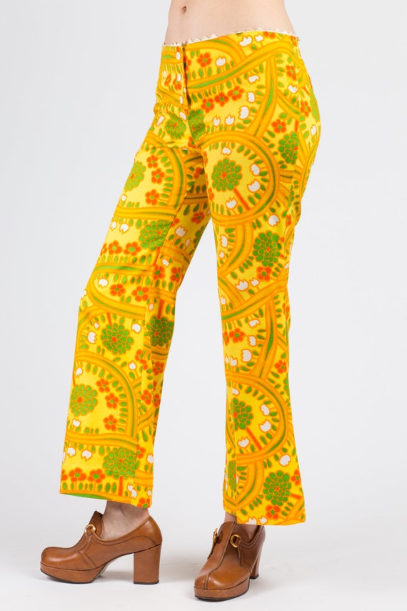 70s Lanz Psychedelic Yellow Flared Pants - Medium… - image 2