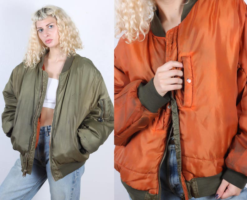 d4572fef97f 80s Reversible Bomber Jacket Vintage Flight Military Puffy