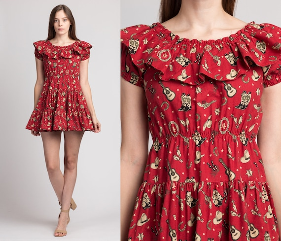 Vintage Red Cowgirl Print Fit & Flare Mini Dress -