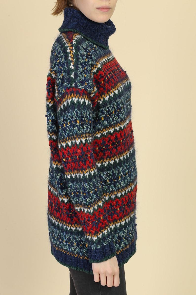 Medium 90s Lizwear Mohair Turtleneck Sweater Vintage Striped Knit Pullover Jumper