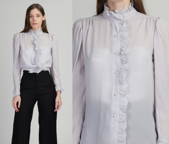 70s Lilac Eggshell Sheer Ruffle Blouse - Extra Sm… - image 1