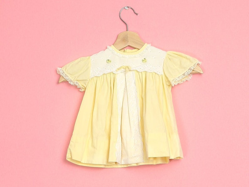 9-12 Months Vintage 60s Yellow Lace Trim Baby Girl Dress
