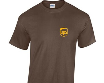 a6048818f3e United Parcel Service UPS yellow Logo USPS T-shirt Brown Short Sleeve Tee  Cotton Shirt
