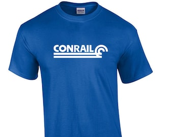 5ef571bc White Conrail Logo on Royal Blue T-shirt Defunct Railroad Train Tee Shirt