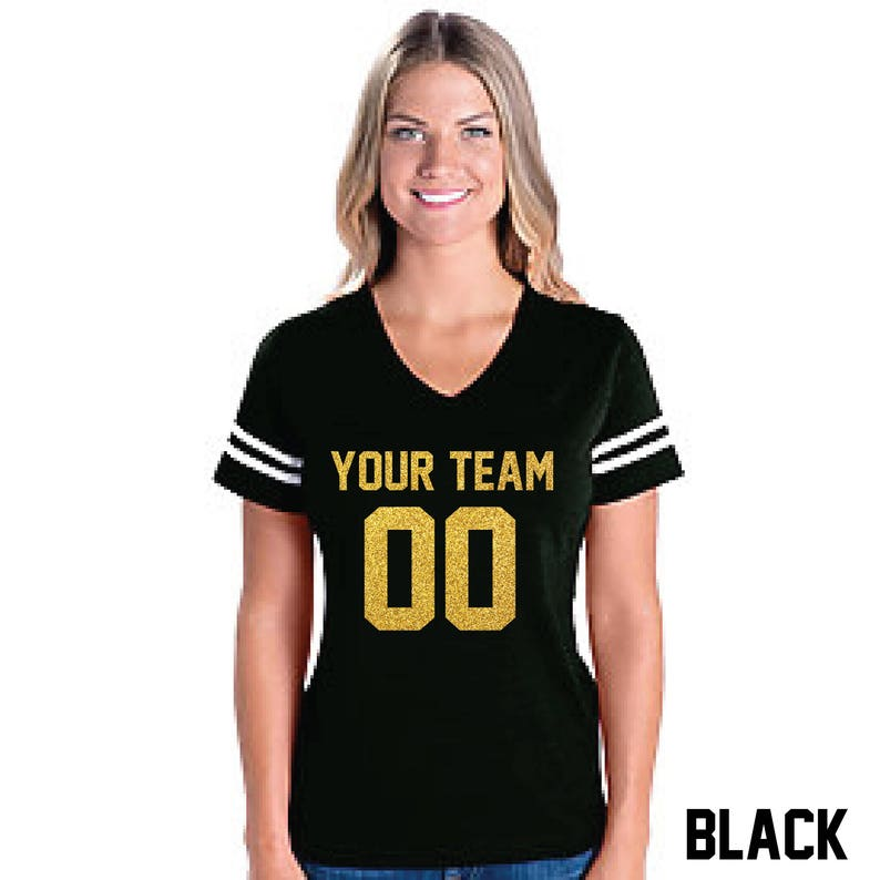 524a12d6a Custom Ladies Football Jersey T-shirt Bling Any Color Personalize Glitter  Numbers And Team Name Cotton Adult Shirt