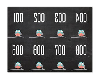 Numbered Clothing Tags - Facebook Live Sale - Reverse Numbers - Mirrored Numbers - Owls - Mirrored Number Tags - Chalkboard - Direct Sales