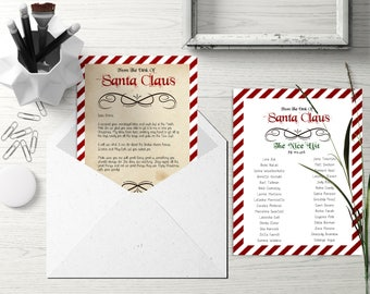 Santa Letter - Santa Nice List - Santa Naughty List - Santa Printable Letter - Christmas Letter - North Pole Letter - Santa Mail - PDF