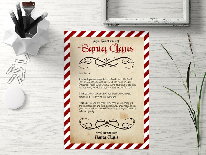 Letter from Santa and Nice List PDF Template Santa Naughty ...