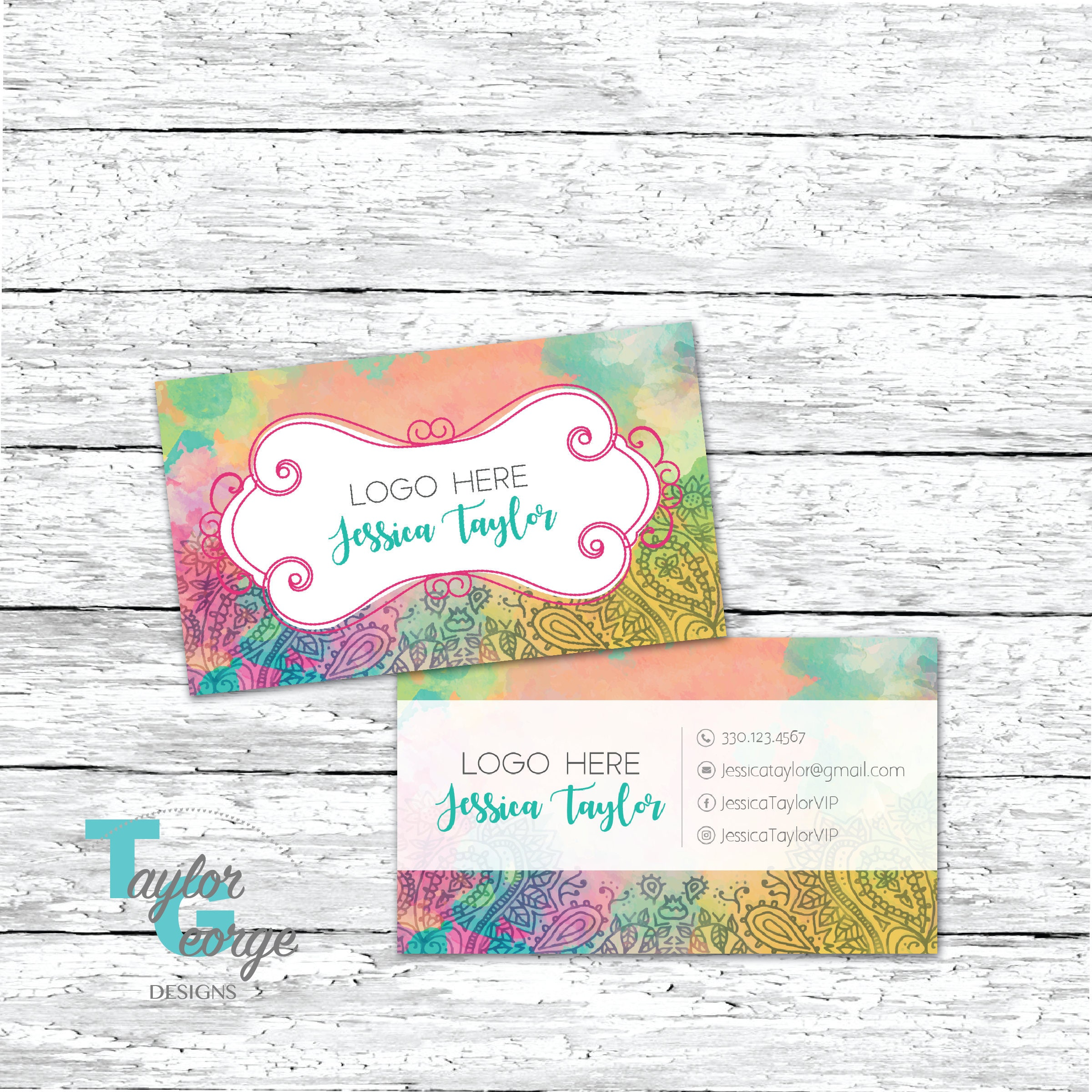 dbeb098a54a2 tie dye business cards. watercolor business card shabby chic card  watercolor etsy .