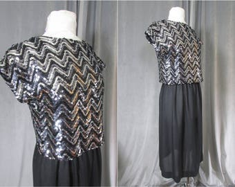 f58d7276d9e3 Vintage 1970s Silver   Black Sequin Party Dress by Toni Todd. Size M. Zig  Zag Sequins. Low Scoop Back. 70s Disco Chic. Slip On Glamour!