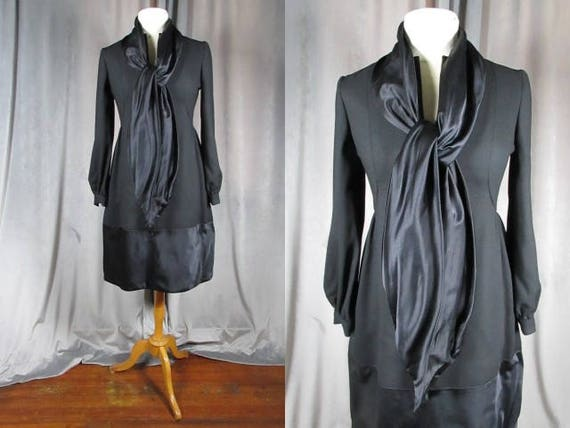 Vintage Couture Teal Traina 1960s LBD. Size M L. Black Crepe and Satin Party Dress.With Silk Stole Scarf & Pockets!Kitty B , Beverly Hills.