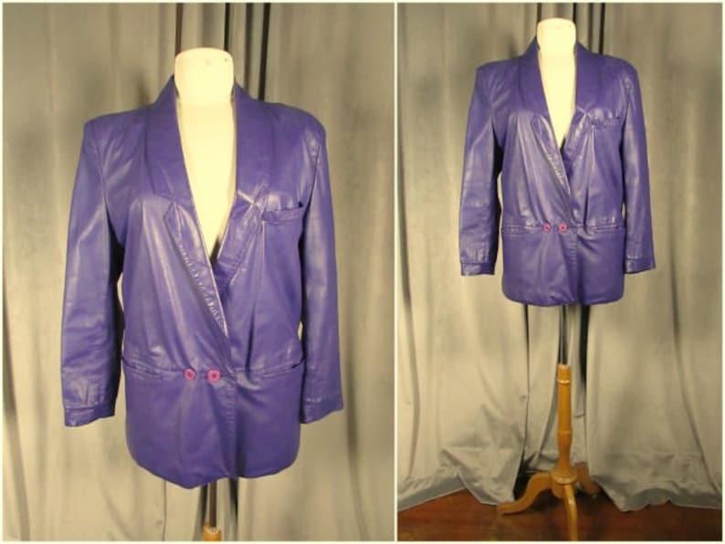 Vintage s new wave purple leather blazer size s m by split etsy