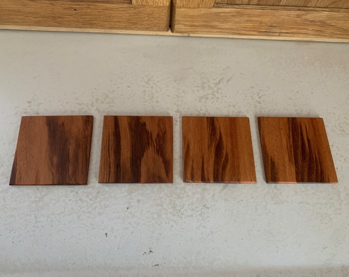 Hand made tigerwood coasters (set of 4).  Gift Idea for wedding.