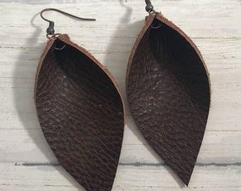 Leather Leaf Earrings: Chocolate Brown // brown leather earrings // birthday gift// bridesmaid gift