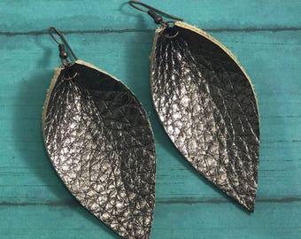 Leather Leaf Earrings: Metallic Silver // leather earrings // birthday gift // bridesmaid gift // metallic leather