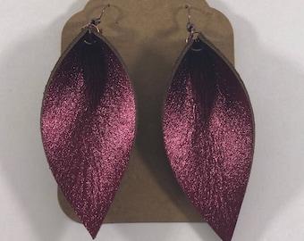 Leather Leaf Earrings: Metallic Red