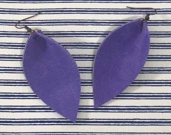 Leather Leaf Earrings: Orchid Purple// orchid purple leather earrings // birthday gift// bridesmaid gift