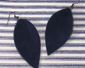 Leather Leaf Earrings: Brave Navy// navy leather earrings // birthday gift// bridesmaid gift