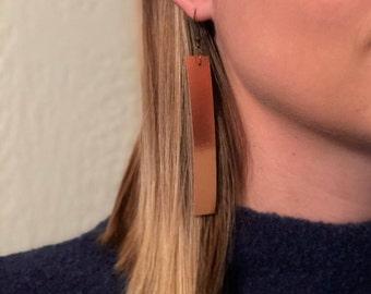 Leather Drop Earrings: Copper