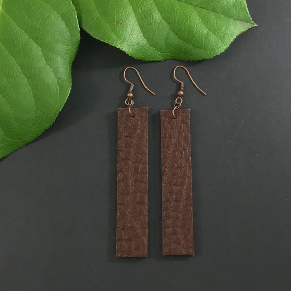 Distressed Gold on Dark Chocolate Genuine Leather Drop Earrings